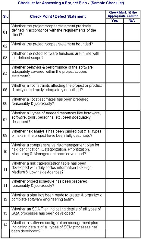 Checklist For Doing An Assessment Of A Project Plan