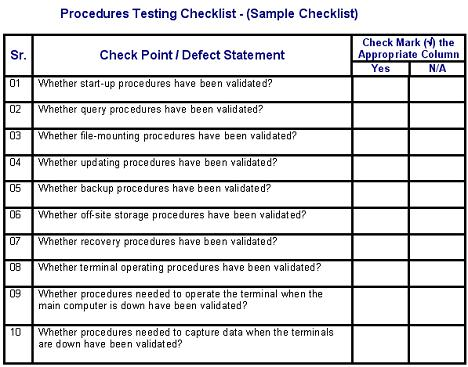 Procedures testing defects checklist for Testing procedures template
