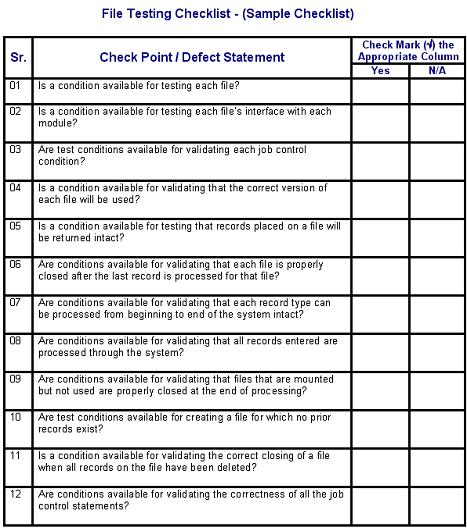 file testing defects checklist