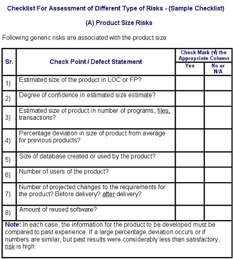 Preview Of The Risk Assessment Checklist
